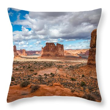 Courthouse Towers At Arches National Park Throw Pillow