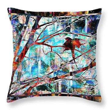 Courting Bird Throw Pillow