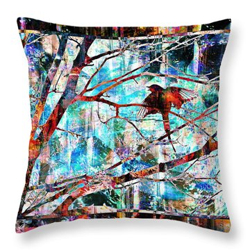 Courting Bird Throw Pillow