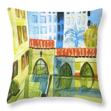 Courtyard After The Rain Inspired By Paul Klee Houses By The Sea Throw Pillow