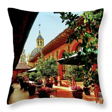 Courtyard At The Inn Throw Pillow