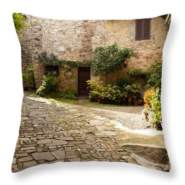 Courtyard In Montefioralle Throw Pillow by Rae Tucker