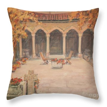 Throw Pillow featuring the painting Courtyard Of Stravopoleos Church by Olimpia - Hinamatsuri Barbu