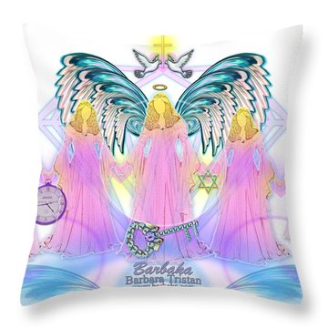 Throw Pillow featuring the digital art Cousins by Barbara Tristan