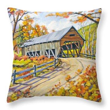 Covered  Bridge 2 Throw Pillow by Richard T Pranke