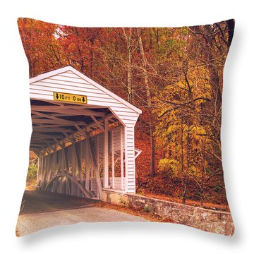Covered Bridge At Valley Forge Throw Pillow