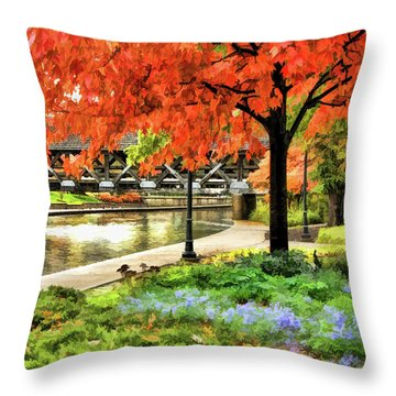 Throw Pillow featuring the painting Covered Bridge Along Riverwalk by Christopher Arndt