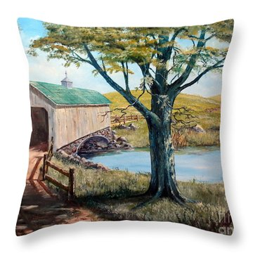 Covered Bridge, Americana, Folk Art Throw Pillow