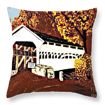 Covered Bridge At Valley Forge Pennsylvania Throw Pillow