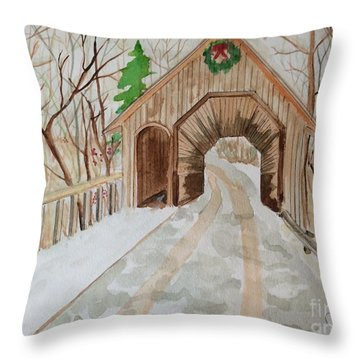 Throw Pillow featuring the painting Covered Bridge by Denise Tomasura