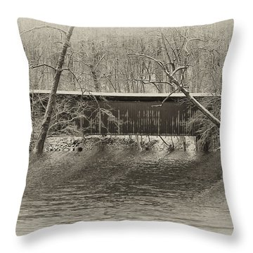 Covered Bridge In Black And White Throw Pillow by Bill Cannon