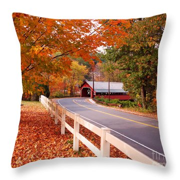 Covered Bridge In Brattleboro Vt Throw Pillow