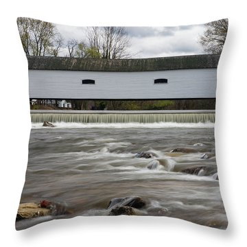 Covered Bridge In March Throw Pillow