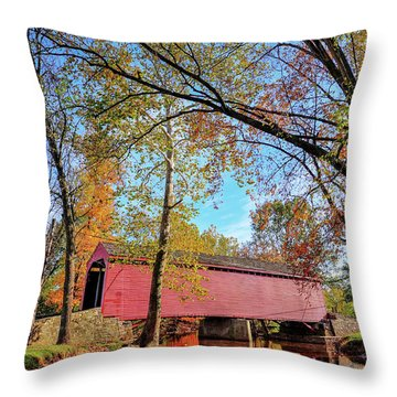 Covered Bridge In Maryland In Autumn Throw Pillow