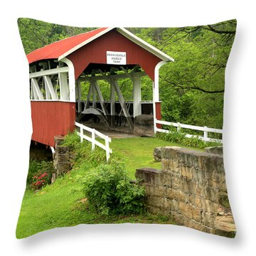 Covered Bridge In Middlecreek Township Throw Pillow