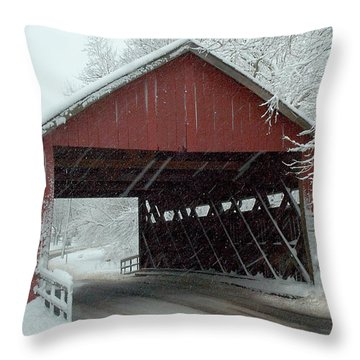 Covered Bridge In Snow Throw Pillow