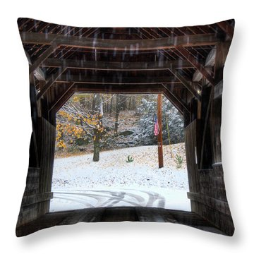 Throw Pillow featuring the photograph Covered Bridge In Snow - Warren Vt by Joann Vitali
