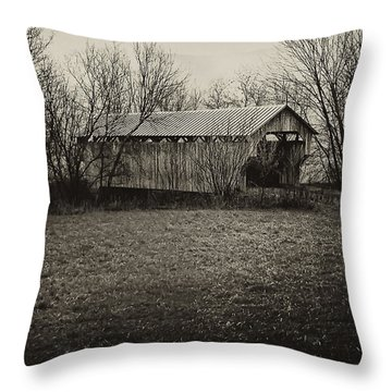 Covered Bridge In Upstate New York Throw Pillow by Bill Cannon
