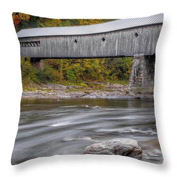 Covered Bridge In Vermont With Fall Foliage Throw Pillow