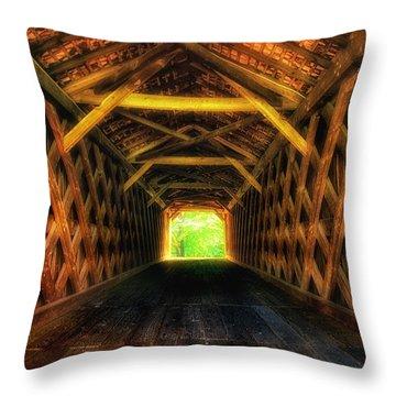 Covered Bridge Interior Throw Pillow