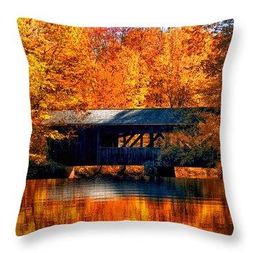 Covered Bridge Throw Pillow by Joann Vitali