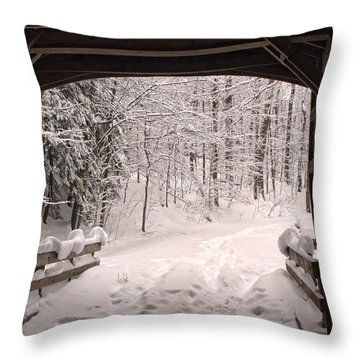 Covered Bridge Throw Pillow by Michael McGowan
