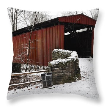 Covered Bridge Over The Wissahickon Creek Throw Pillow by Bill Cannon