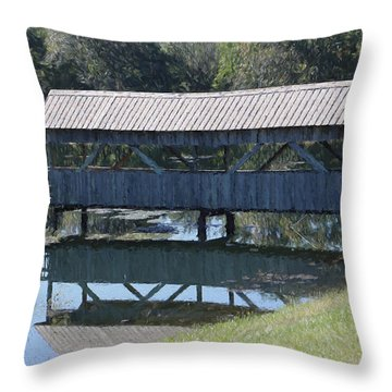 Covered Bridge Painting Throw Pillow