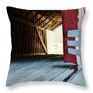Throw Pillow featuring the photograph Covered Bridge, Winterset, Iowa by Wilma Birdwell
