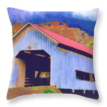 Covered Bridge With Red Roof Throw Pillow