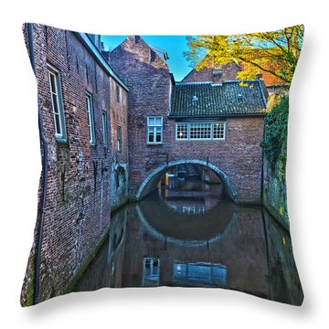Covered Canal In Den Bosch Throw Pillow