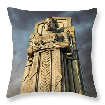 Covered Wagon Guardian On Hope Memorial Bridge Throw Pillow
