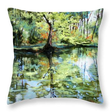 Covington Pond Throw Pillow by Dianne Parks