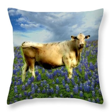 Throw Pillow featuring the photograph Cow And Bluebonnets by Barbara Tristan