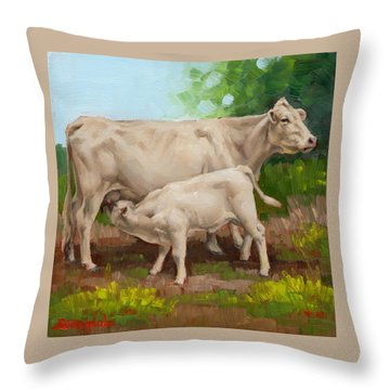 Cow  And Calf In Miniature  Throw Pillow