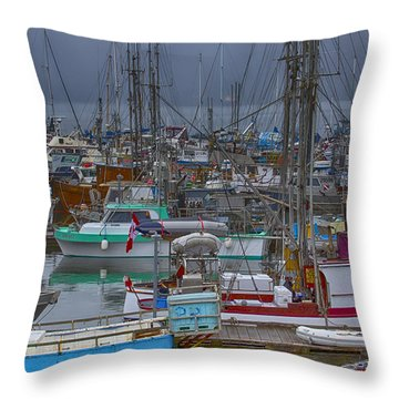 Cow Bay Commercial Fishing Boats Throw Pillow