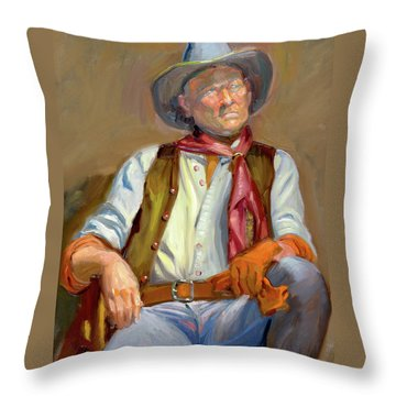 Cow-boy At Rest Throw Pillow by Dominique Amendola