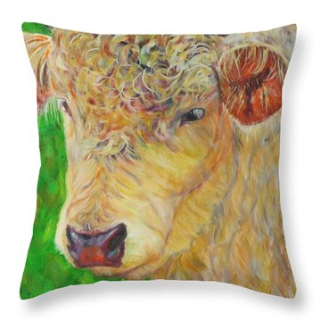 Cute And Curly Cow Throw Pillow