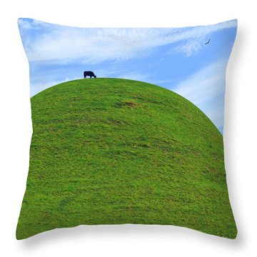 Cow Eating On Round Top Hill Throw Pillow by Mike McGlothlen