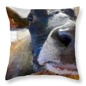 Throw Pillow featuring the painting Cow Face Close Up by Joan Reese