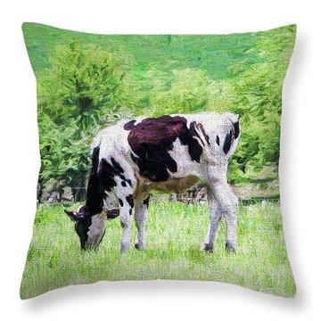 Cow Grazing Throw Pillow