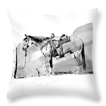 Cow Horse Hitched Throw Pillow