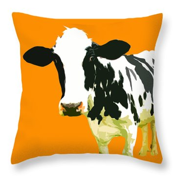 Cow In Orange World Throw Pillow