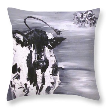 Cow In Winter Throw Pillow