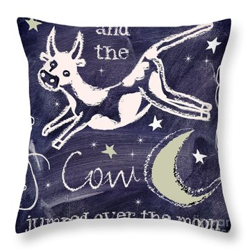 Cow Jumped Over The Moon Chalkboard Art Throw Pillow by Mindy Sommers