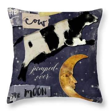 Cow Jumped Over The Moon Throw Pillow