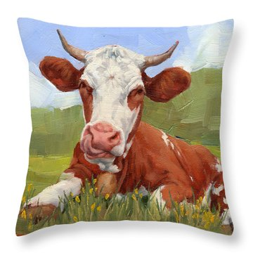 Cow Lick Mini Painting  Throw Pillow