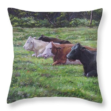 Cow Line Up In Field Throw Pillow