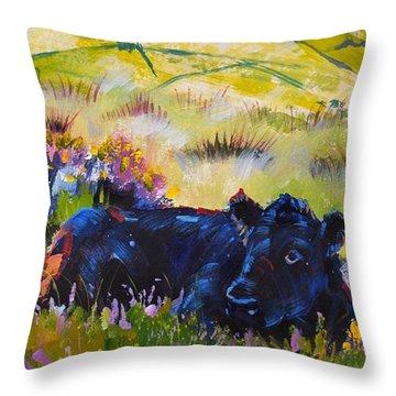 Cow Lying Down Among Plants Throw Pillow