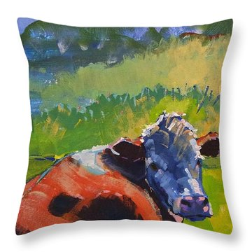 Cow Lying Down On A Sunny Day Throw Pillow